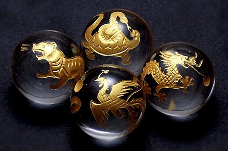 四神獣水晶丸玉